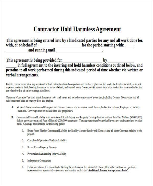 Hold harmless agreement template pdf