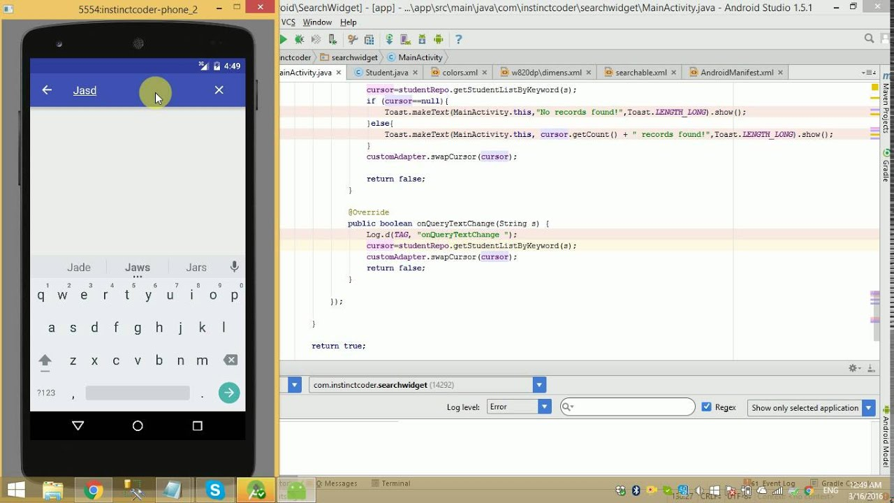 Android studio how to create a search bar