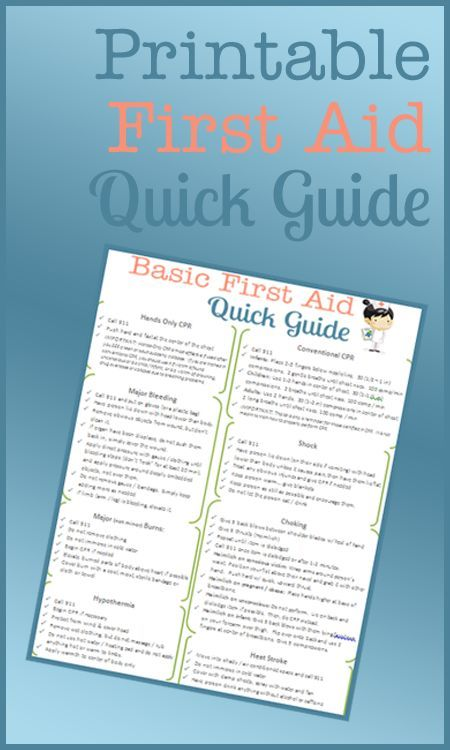 Basic first aid guide printable
