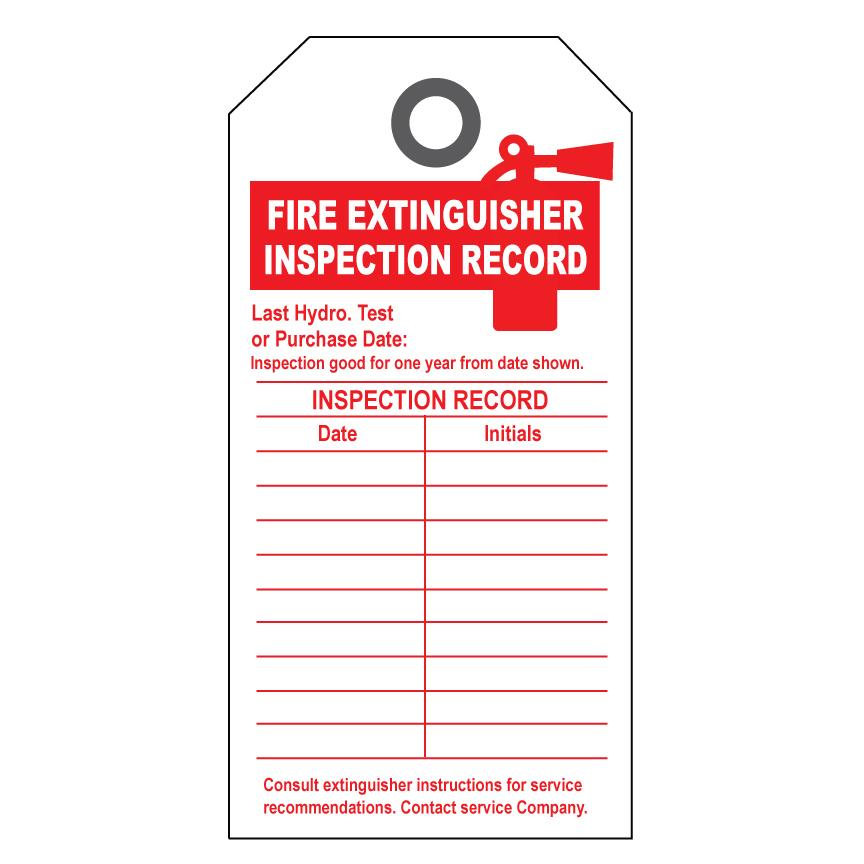 Fire extinguisher inspection tags template pdf