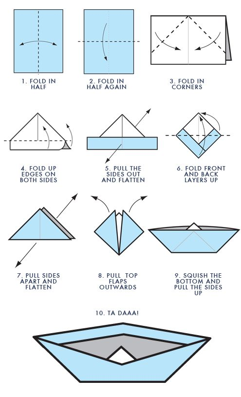 Simple origami boat instructions