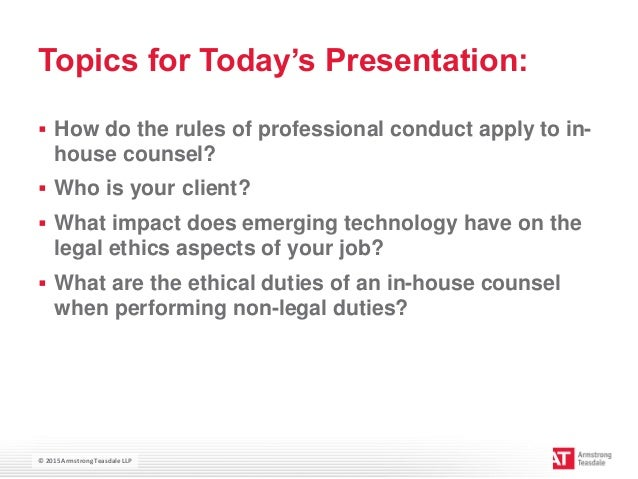 Ethics for in house counsel handbook