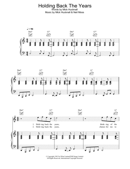 Holding back the years sheet music pdf